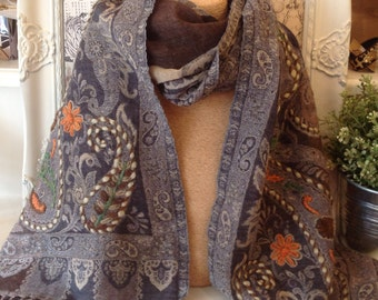 Woolen Hand Embroidered Shawl Wrap