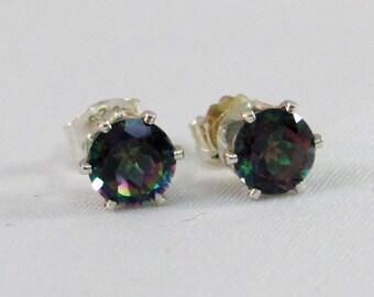 Mystic Topaz Post Earrings, Rainbow Topaz Earrings, Brazil Mystic Topaz Gemstone, Mystic Topaz Jewelry, Stud Earrings, Bride,Wedding Jewelry