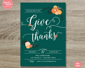 Give Thanks Invitation // 5x7 Rustic Thanksgiving Invitation - Thanksgiving Dinner Party - Rustic Fall Thanksgiving Party Printable Invite