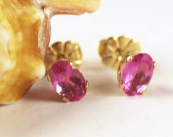 SALE, Pink Tourmaline Earrings, Hot Pink Tourmaline Earrings, Pink Gemstone Earrings, Gold Plated Earrings