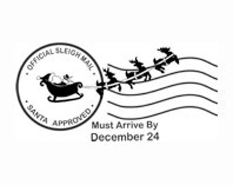 Sleigh Mail Postmark Rubber Stamp - 206H02
