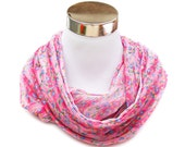 Loop Flower Scarf Pink Light Weight Scarf Chiffon Pink Infinity Flower Scarf Women Cirlce Scarf Summer Scarf Spring Autumn