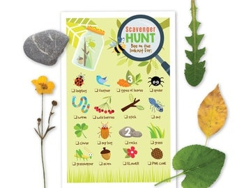 Nature Scavenger Hunt Game - Kid's Party Game - nature bugs - Instant Download