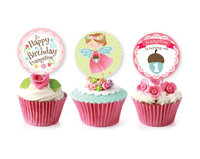 Fairy cupcake toppers or bunting - Customized Printable DIY, Girl's Fairy Birthday