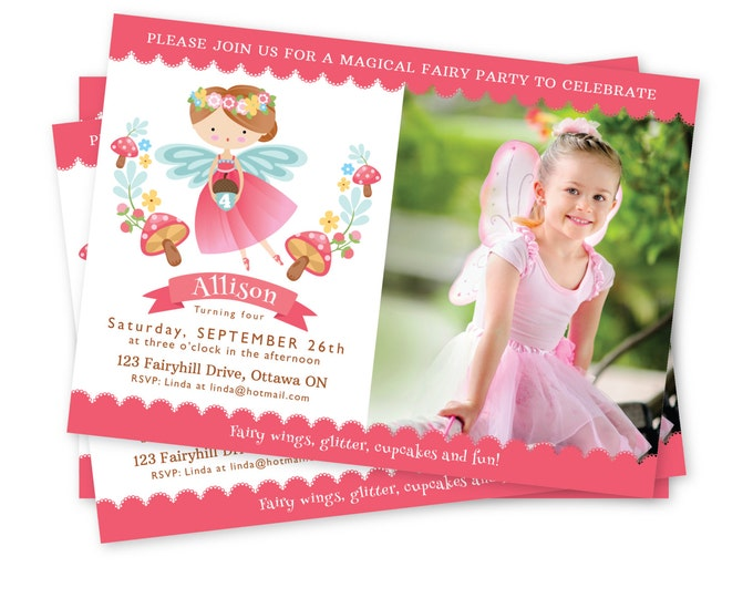 Fairy Photo Invitation, Fairy Birthday Party, Fairy  Invitation, Personalized Printable DIY, woodland fairy, custom photo