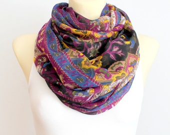 Boho Infinity Scarf - Purple Floral Scarf - Fabric Infinity Scarf - Floral print Scarf - Unique Loop Scarf - Women Fashion Accessories Gifts