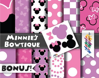 INSTANT DOWNLOAD - Minnie's Bowtique Inspired Pattern Paper Package - (12 Pack) 12  x 12 - Minnie Mouse, Daisy Duck - Includes BONUS Page!