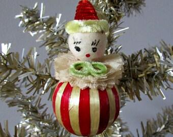 Vintage Spun Cotton Head Clown Ornament