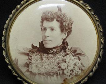 Antique Photograph Tin Brass Frame Chicago Columbia Portrait Co
