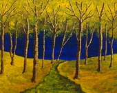 "Twilight Woods Original Acrylic Painting 5"" x 7"" by Mike Kraus"