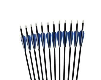 """12 Fiberglass Arrows For Archery Long&Recurve Bows Target Practice 28""""~32"""" Length"""