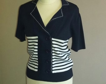 Pin up style vintage top nautical stripe knitwear top