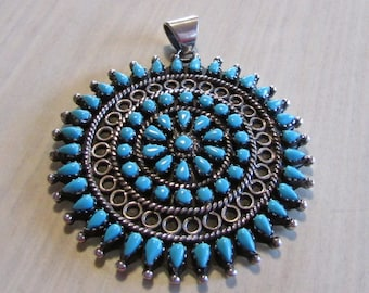 Large Sterling Silver and Block Turquoise Cluster Pin