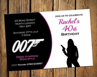 40th Birthday Personalised Party Invitations Bond Female