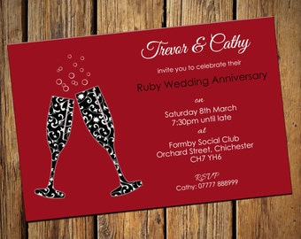 40th Ruby Wedding Anniversary Party Invitations No 6