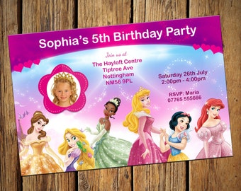 Disney Princess Party Invitations Personalised Birthday Invite With Photo