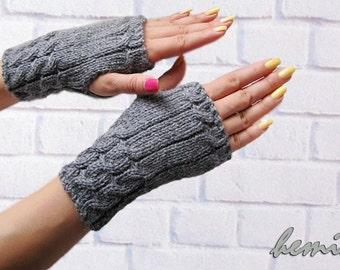 Hand knit Fingerless gloves, womens fingerless gloves,Hand knit warmers,  wool luxury yarn,hand  knit  gloves,black\gray  fingerless gloves
