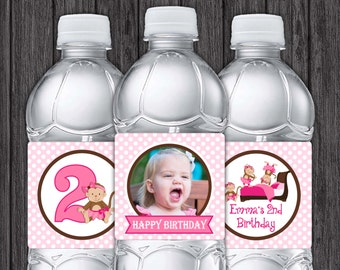 Monkey Water Bottle Labels - Printable 3 Little Monkeys Jumping on the Bed Birthday Party Decorations - DIY Digital File