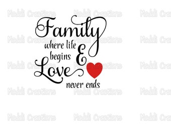 Family Where Life Begins And Love Never Ends SVG