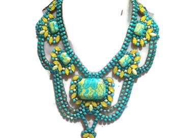 AITUTAKI hand painted turquoise and yellow rhinestone bib statement necklace