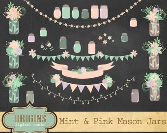 70% OFF Rustic Pink and Mint Mason Jars Clipart - Floral Shabby Chic Clip Art for Weddings, Invitations, Scrapbooking, Vectors and PN