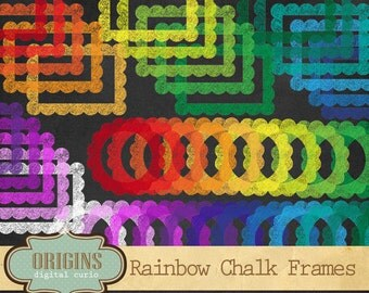 Rainbow Chalkboard Frames Clipart, Scalloped frames, chalk photo overlays PNG Clip art set for Commercial Use, Instant Download