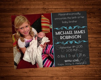 Chalkboard Themed Printable Sibling Birth Announcement with Picture! (Many Colors Available!)