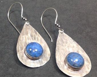 Bezel Set Earrings, Gemstone Earrings, Hammered Silver Earrings, Denim Lapis Earrings, Sterling Earrings, Stone Earrings, Chunky Earrings