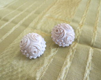 Vintage mid century carved white cinnabar floral button clip on earrings