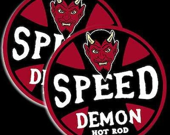 """Speed Demon Hot Rod Shop- red & black  2-pack of 4"""" stickers"""