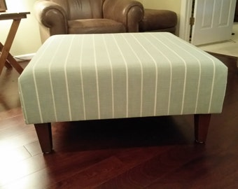 Upholstered Ottoman Coffee Table - Blue With White Stripes