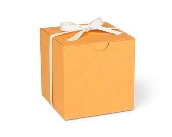 Favor Boxes, Orange with Ivory Ribbon // set of 8