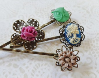 Ivory On Blue She Skull, Green Owl And Floral Hair Clips