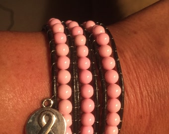 Breast Cancer Pink Wrap Leather Bracelet