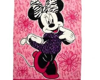 Minnie MOUSE Zebra print Beach Towel - Personalized Beach Towel