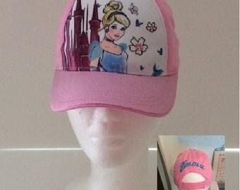 Cinderella Toddler Girls Baseball Hat - Blue Personalized