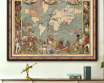 "British Empire World map 1886 Large wall map of the World in 4 sizes up to 48x36"" (120x90cm) British Empire map - Limited Edition of 100"