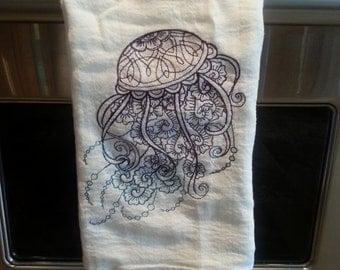 Jellyfish Embroidered Flour Sack Hand/Dish Towel