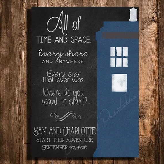 the date personalized chalkboard style printable wedding invitation
