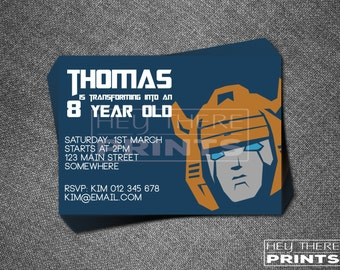 Bumblebee Transformers Invitation - Autobots - Optimus Prime
