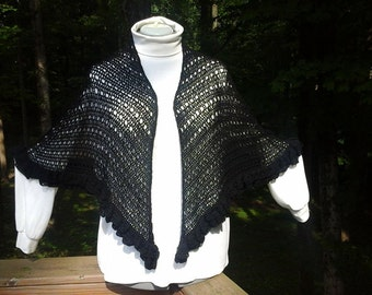 Handmade crocheted black ruffled shawl