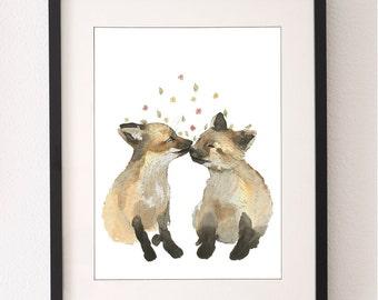 A4 Fox Cubs Art Print, Fox, Art Print, Wall Art, Water Colour, Nursery Art, Water Color, Nursery Print, Fine Art Print