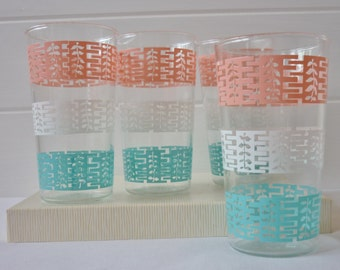 Set Of Four Anchor Hocking Retro Glasses