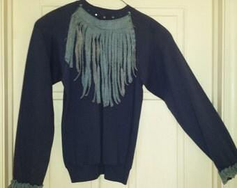 DennyDuds Hand Decorated Sweatshirt with Rhinestone Studs