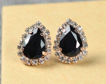 Wedding Jewelry Bridesmaid Gift Bridesmaid Jewelry Bridal Jewelry Back diamond black studs cubic Earrings, black earrings,bridesmaid gift