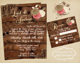 Rustic Vintage Wedding Invitation/Wedding/ Rustic Wedding Set/Country Wedding/Country Chic/Shabby Chic/Barn Wedding/Outdoor Wedding/