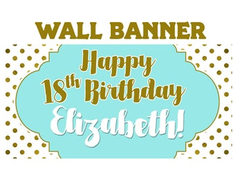 Birthday Gleam Banner  ~ Gold Polka Dots Birthday Personalize Party Banners - Large 18th Birthday Banner