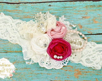 Pink Rosette Headband - Couture Headband - Photo Prop - Birthday Headband - Ivory Headband - Girls Headband Baby Headband - Couture Headband