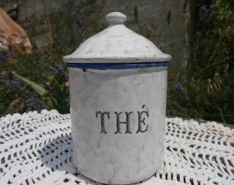 Original French enamelware pot, cansiter, white and blue, enamel, kitchenalia, thé, tea, storage, France, Vintage, Retro, metal