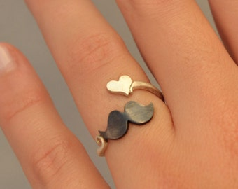 Ring I Love Mustache Geek Jewelry Sterling Silver 925 Wrap Ring Fashion Trending Rings Teens Gift Idea Under 30 I Love Mustache Jewelry